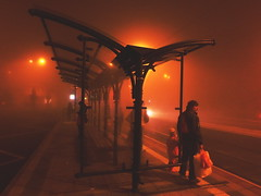 (Botond Pataki) Tags: street people orange mist black fog night waiting tram human stop handheld lamps element