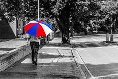 Pop! (+Pattycake+) Tags: blue light red white man tree sunshine rain weather umbrella walking outdoor pavement walker norwich photowalk showers climate bollard selectivecolour nr2