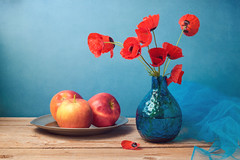 Retro still life with poppies and apples (noor.khan.alam) Tags: wood blue red wild summer wallpaper stilllife food flower apple nature wall fruit composition vintage poster table design israel wooden spring artistic blossom background fineart rustic plate retro card cover page poppies bloom vase backdrop bouquet brochure greeting arrangement tabletop