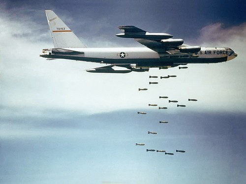 B-52F releasing its payload of bombs over Vietnam