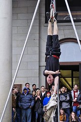 Free at Last (AntyDiluvian) Tags: boston downtown escape upsidedown massachusetts free rope mohawk hanging streetperformer marketplace tied tight quincymarket faneuilhall undone straitjacket escapeartist jasongardner jasonescape