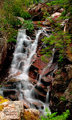 Rocky Glen Falls and the pool above (Shelle Ette) Tags: statepark river waterfall moving newhampshire whitemountains falls basin franconianotch notorious thebasin rockyglenfalls pemigewasettriver