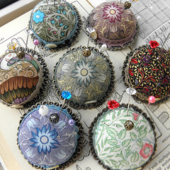 New pincushion Brooches, Larger size. (Wychbury Designs) Tags: uk bronze bottle top sewing brooch craft william pins medieval tudor fabric cap pincushion morris etsy wearable needles cushion renaissance scroll folksy wychbury