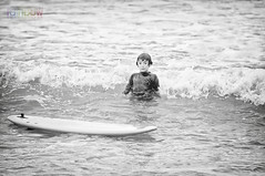Learn to Surf (BJRainbow) Tags: bw white black photography grey rainbow surf child gray wave australia surfing stack wipeout qld queensland learning noosa learn sunshinebeach tewantin rainbowphotography