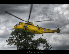 RAF Rescue (Paul Simpson Photography) Tags: uk england sky rescue blur tree yellow flying chopper flight helicopter helicopters hdr blades raf intheair seaking searchandrescue lowflying photosof picturesof rotorblades photoof imagesof rotorblur xz596 paulsimpsonphotography rotarblur