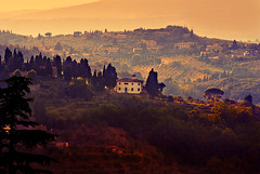 The Hills of Fiesole (Yuliya Bahr) Tags: trees light sunset italy sun house beautiful forest landscape florence italia hills tuscany firenze toscana fiesole smalltown florenz
