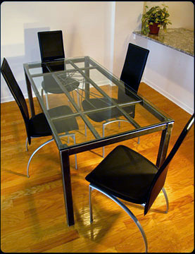 Carissa-Cross Steel Dining Table