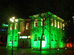 Green Lights at the  building... (Alexanyan) Tags: city light building green center bulgaria balkans bulgarian varna