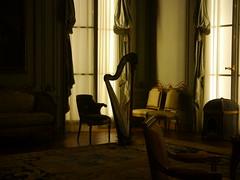 P1030352 (jonseidman) Tags: newyorkcity harp musicalinstrument themet metropolitanmuseumofart softlight musicroom antiquefurniture historicroom
