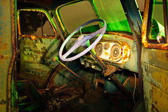 Friday nights at the drive-in. (Dan Brind) Tags: longexposure nightphotography dan vintage bedford rust rustic rusty moonlight oldcar strobe carinterior greencar lightpaint yorkepeninsula nyp coppertriangle brind