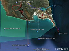 Map of Point Lowly - Current and future industrial developments and protected areas - Cuttlefish Country (danimations) Tags: map jetty santos cuttlefish googleearth ironore marinepark bhpbilliton pointlowly portbonython marineparks cuttlefishcountry
