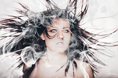 162/366 The Element Of Air (JennaTaryn) Tags: white selfportrait hair scary smoke air creative windy creepy whip 365 portaits element whiteeyes airelement