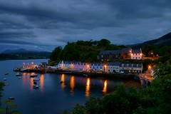 Portree Harbour (Morten Hansen Photography) Tags: sea reflection night lights evening bay scotland isleofskye nightscene portree