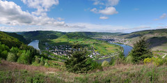 Moselle river for bons vivants (Bn) Tags: blue sky panorama horse mountain nature water ecology river germany landscape geotagged deutschland shoe vineyard spring topf50 scenery wolf village wine panoramic vineyards crop grapes vista environment crops agriculture curved viewpoint uturn environmentalism grape mosel riesling ecosystem rheinlandpfalz slopes moselle krv agronomy moesel rhinelandpalatinate krov 50faves winegrowing fruitcrops panview geo:lon=7108154 geo:lat=49985973