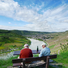 Vineyard owners enjoying Riesling wine of previous years (Bn) Tags: life blue sky panorama mountain nature water ecology river germany landscape geotagged deutschland vineyard spring topf50 scenery wolf day village wine good panoramic vineyards enjoy crop grapes vista cheers environment crops taste tasting farmer lovely agriculture curved viewpoint topf100 environmentalism whitewine grape owner mosel riesling ecosystem rheinlandpfalz slopes moselle krv agronomy glassofwine moezel moesel rhinelandpalatinate krov 100faves 50faves winegrowing fruitcrops panview geo:lon=7108154 geo:lat=49985973