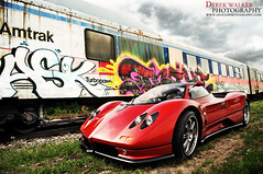 Zondarific! (Derek Walker Photo (Derk Photography)) Tags: red sky colors beautiful grass car train graffiti photo amazing shoot photoshoot s exotic derek walker marron epic rare spotting zonda parke pagani derk c12 c12s