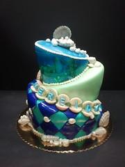 Mermaid Birthday Cake (dragosisters) Tags: birthday sea shells cake whimsy mermaid topsy turvy