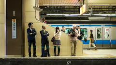 (RM) Passengers waiting by the platform for their train to arrive at Omiya Station (Moonie's World) Tags: male japan female holidays flickr transport queue transportation commuting trainplatform commuters rm jreast japanesepeople alamy saitamaprefecture localline eastjapanrailwaycompany stockcategories waitingpassengers  omiyastation fotopedia leicadgmacroelmarit45f28