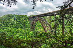 Arched Span (Sky Noir) Tags: park new bridge usa west modern river photography virginia us day arch unitedstates cloudy steel unitedstatesofamerica over national westvirginia service gorge innovation span hdr fayetteville newrivergorge arched skynoir archedspan