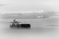 heading up-river (Mr. Greenjeans) Tags: blackandwhite bw mist water fog river boat louisiana ship batonrouge mississippiriver shipping 105mm redstick 24105mm rivertraffic portofbatonrouge
