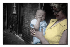Mum and Me hand tinted. (nigelnaturist) Tags: old family bw baby 60s mother mum sixties handtinting motherandbaby