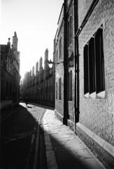 Cambridge (peb photo) Tags: street uk cambridge shadow england people bw man film 35mm print blackwhite nikon shadows kodak streetphotography fm2