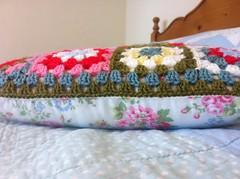 Summer Garden Granny Cushion (Tea at Weasel's) Tags: summer garden bed bedroom quilt squares crochet granny cath kidston