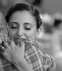 Penelope - on his departure? or return? (ybiberman) Tags: portrait bw woman smile israel eyes hug eyelashes jerusalem