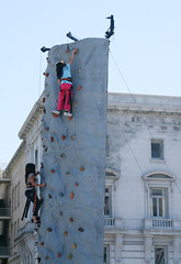 Girls Climbing the Wall (shaire productions) Tags: sf sanfrancisco california street city ladies girls people urban building heritage girl festival wall youth asian fun photography climb photo asia exercise image outdoor candid group young culture climbing event photograph american gathering metropolis activity fest ethnic cultural imagery asianheritage asianheritagecelebration