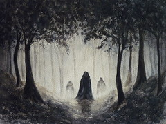 Misty Forest (suesart) Tags: trees art forest painting woods fantasy figure watercolour mystical figures cloaked