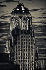 Old Time City Hall - Buffalo, NY (DFiveRed) Tags: new york old city sunset urban bw white ny black building art architecture clouds skyscraper canon hall buffalo buffalony deco hdr buffalonewyork 55250 t1i