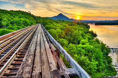 Onawa Trestle & Borestone (Greg from Maine) Tags: bridge sunset june forest landscape maine convergence wilderness railroadbridge railroadtracks converginglines traintrestle borestone borestonemountain piscataquiscounty onawatrestle lakeonawa lakeonawatrestle