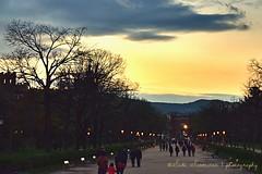 Twilight at the Arc de Triomf II (suominensde) Tags: barcelona sunset sky people espaa mountain tree architecture noche twilight spain nikon gente outdoor catalonia cielo serene montaa nube catalua crepsculo nght puestadelsol sereno d5300