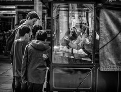 reflection attention (Daz Smith) Tags: city uk portrait people urban blackandwhite bw streets reflection blancoynegro boys monochrome shop canon blackwhite bath candid fastfood citylife thecity streetphotography stall vendor hotdogs seller buying canon6d dazsmith bathstreetphotography
