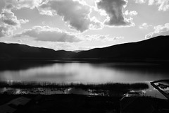 lakescape by ioanna papanikolaou DSC_1314_2735 (joanna papanikolaou) Tags: sunset blackandwhite bw lake monochrome clouds cloudy greece lakeshore lakescape prespes lakescenery