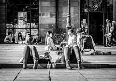 Relax Strasbourg City 2 (lassana.dou) Tags: street wood people bw sun streetart blackwhite kid exterior graphic happiness sunny nb strasbourg rue sujet centreville noirblanc concret lieu urbanpicture