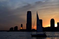 sailboat (greenelent) Tags: nyc light sunset sun newyork sailboat newjersey photoaday hudsonriver 365