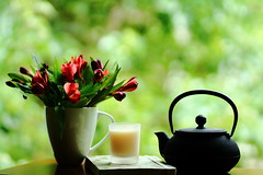 Just another cup of coffee (Angelina.Maria) Tags: flowers light stilllife green window coffee leaves canon still shadows tea bokeh 85mm lifestyle teapot
