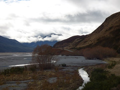 Clouds and Mountains (Steve Taylor (Photography)) Tags: newzealand cloud mountain cold contrast river landscape nz southisland southernalps gravel