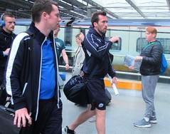 Leicester City players (DncnH) Tags: blue station football leicester stpancras premierleague leicestercity christianfuchs dannydrinkwater jamievardy