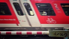 very fast train (bauingenieuse) Tags: city red rot bicycle train sony fast zug db class 2nd stadt sbahn z3 fahrrad ux schnell 2016 rmv bahnbergang abteil schlagbaum 2klasse xperia bauingenieuse snapseed