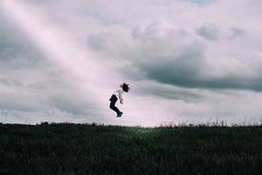 The day she left us (Rebecca Cartwright) Tags: fiction light cloud art girl field photoshop photography jump lift outdoor yorkshire fine young levitation ufo aliens beam scifi curve leap younf beme vsco scource uf0