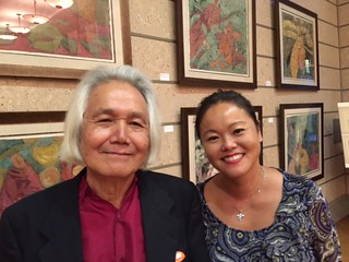 Taiwan artist John Chen with his daughter at the retrospective of his work at the Coral Gables Museum opening