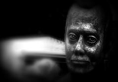 Sculpture (dockerm) Tags: wood sculpture man face festival blackwhite gesicht mann holz holzschnitzer