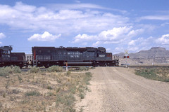 Southern Pacific SD40T-2 #8257 at Crescent Jct.   UT on 7-17-96 (LE_Irvin) Tags: southernpacific sd40t2 crescentjctut