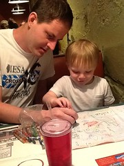 "Paul and Daddy Draw Cubes at Margarita's • <a style=""font-size:0.8em;"" href=""http://www.flickr.com/photos/109120354@N07/27821710216/"" target=""_blank"">View on Flickr</a>"