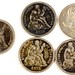 Lot 1. Five Seated Liberty Dime Tokens