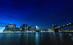 Another Nightview of Lower Manhattan [I like blue tone..] (Yohsuke_NIKON_Japan) Tags: nyc bridge blue usa ny architecture night nikon downtown manhattan sigma brooklynbridge eastriver nightview wallstreet dust top20 lowermanhattan magichour 10mm bluemoment top20nyc colorefex mygearandme mygearandmepremium d3100 pwpartlycloudy