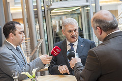 Binali Yildirim being interviewed at the Cocktail Reception