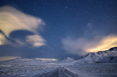 The way is not in the sky. The way is in the heart. (traumlichtfabrik) Tags: travel blue schnee winter sky snow night stars geotagged island iceland reisen europa europe long pentax nacht 14 himmel blau walimex coordinates position lat 2012 k5 sterne grindavk 14mm samyang suurnes traumlichtfabrik grindavksuurnesiceland